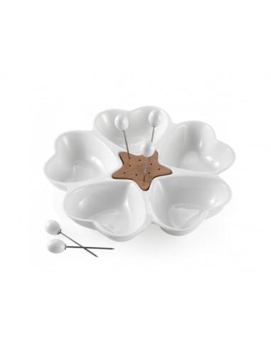Antipastiera Mille Cuori In Porcellana Bianca  - 56818  - Brandani  - Antipastiere e Vassoi