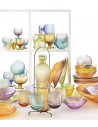 Multicolor Bottiglia H. 32.5 Lt.1,35 Ametista Tappo Turchese - 6770.1 - IVV - Industria Vetraria Valdarnese - Caraffa, Tei...