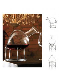 Cantico Decanter La Sposa Con Supporto In Acciaio Ivv - 3787.1 - IVV - Industria Vetraria Valdarnese - Accessori Vino e Ch...