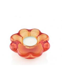 Paradise Portacandela Votivo Fiore Cm.10.5x10.5 Decoro Arancio Perlaceo - 6229.3 - IVV - Industria Vetraria Valdarnese - C...