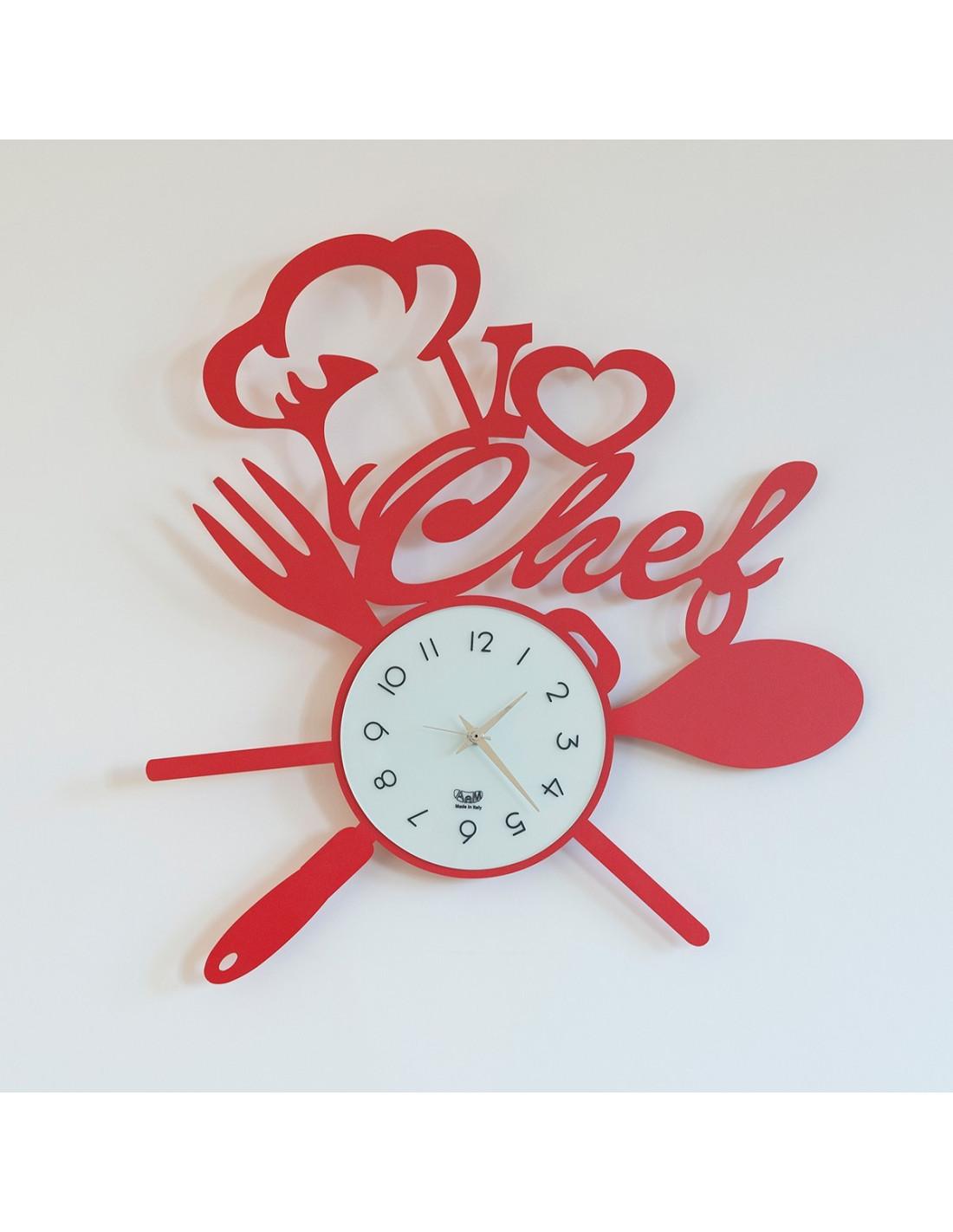 Orologio i love chef rosso - Orologi da casa moderni ...