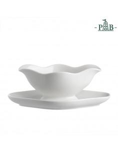 Menage Salsiera C/piattino Cm. 23 - P001100806 - La Porcellana Bianca - Olio, Aceto, Sale e Pepe