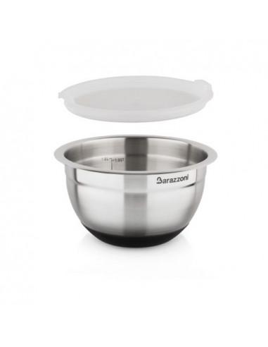 Bowl Acciaio Silicone cm. 16x9.6 Con Coperchio Acciaio Inox 18/10 - 810160016 - Barazzoni - Insalatiere e Ciotole