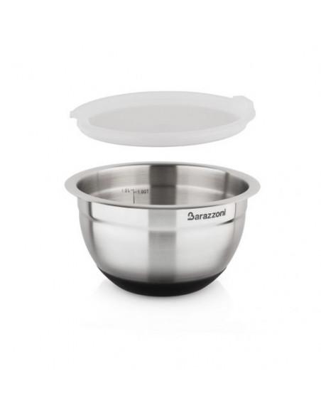 Bowl Acciaio Silicone cm. 16x9.6 Con Coperchio Acciaio Inox 18/10