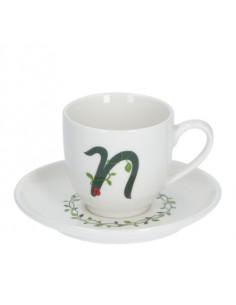 Solotua Tazza Caffe' C/P Lettera 'N' Cc 90 In Gift Box - P00370015N - La Porcellana Bianca - Tazze Caffe, Te e Latte