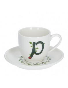 Solotua Tazza Caffe' C/P Lettera 'P' Cc 90 In Gift Box - P00370015P - La Porcellana Bianca - Tazze Caffe, Te e Latte