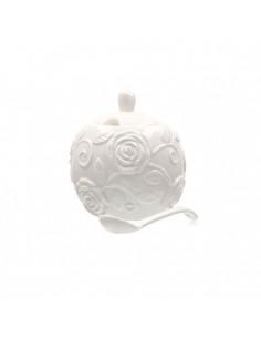 Florentina Zuccheriera Con Coperchio E Cucchiaino - P003801300 - La Porcellana Bianca - Zuccheriere