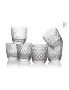 Sixties Set 6 Bicchieri Acqua Trasparente 6 Ottiche Assortite Cl. 31 - 8240.1 - IVV - Industria Vetraria Valdarnese - Bicc...