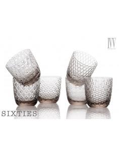 Sixties Set 6 Bicchieri Acqua Grigio Tortora 6 Ottiche Assortite Cl. 31 - 8243.1 - IVV - Industria Vetraria Valdarnese - B...