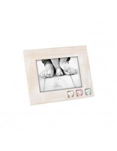 Portafoto In Legno Con Cuori In Resina Cm. 13x18 A959 - 2IEA959 - Mascagni - Portafoto