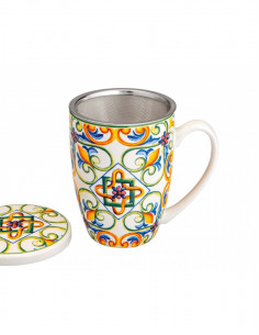 Mug Medicea Giglio New Bone China C/infusore Inox - 53713 - Brandani - Tazze Caffe, Te e Latte