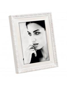 Portafoto Bianco In Legno Massello Con Decorazione A Rilievo 13X18 A1281 - A1281BP - Mascagni - Portafoto