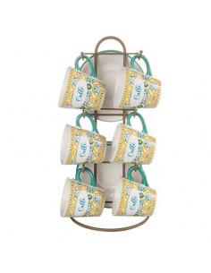 Ortigia Stand Con 6 Tazzine + 6 Piattini Stoneware L