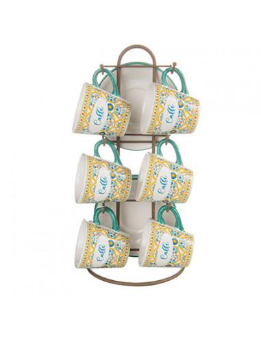 Ortigia Stand Con 6 Tazzine + 6 Piattini Stoneware