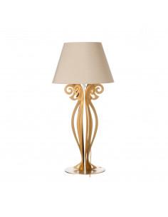 Lampada Da Comodino Moderna Circeo Piccola Oro Paralume Sabbia
