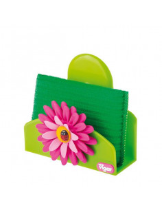 "Porta Spugnetta ""Flower Power"" Con Ventosa -spugnetta Inclusa"