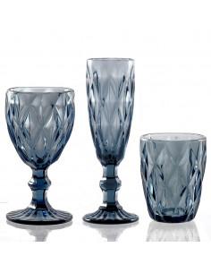 Set 6 Bicchieri Acqua Blue Diamond In Vetro