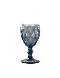 Set 6 Calici Vino Blue Diamond In Vetro