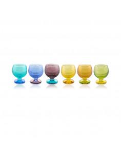 Multicolor Set 6 Calice Liquore Bicolore Arlecchino Scatola Regalo - 5342.1 - IVV - Industria Vetraria Valdarnese - Bicchi...